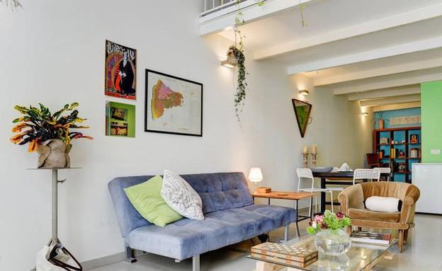 סאבלטים 08, דירה יפואית קטנה וצבעונית (צילום: airbnb.com, עיצוב-נועם אלקיים)