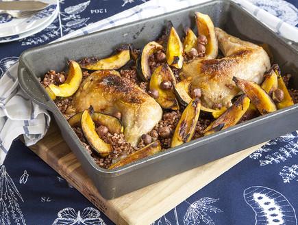 עוף צלוי על אורז אדום ודלעת ערמונים (צילום: אסף אמברם, אוכל טוב)