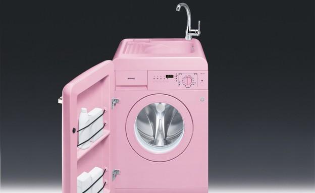 רטרו, מכונת כביסה ורודה של סמג עם ברז (צילום: יחצ סמג)