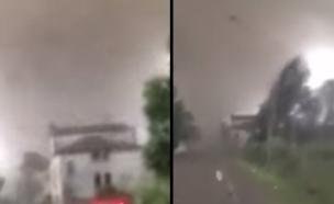 צפו ברוחות החזקות משמידות בתים ועצים