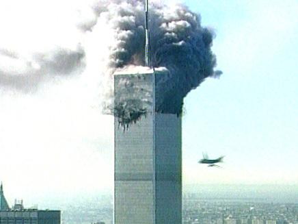 רגע הפגיעה במגדל הדרומי (צילום: חדשות 2)
