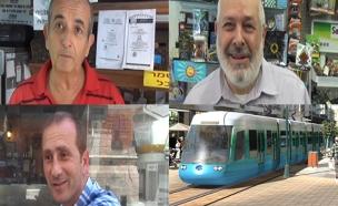 תושבים ירושלים על רקע הדמייה רכבת קלה בתא (צילום: חדשות 2)