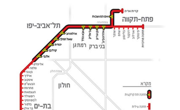 הקו האדום (צילום: מתוך אתר נתע, nta.co.il)