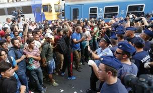 מאות מהגרים מנסים לעלות לרכבת בבודפשט (צילום: רויטרס)