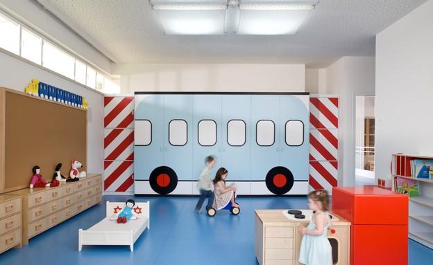 גני ילדים 11, קווים עיצוביים פשוטים וסקאלת צבעים מתונה (צילום: עמית גרון, תכנון-לב גרגיר אדריכלים, עיצוב פנים-שרית שני חי)