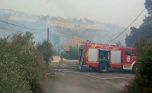 שריפה במוצא, ירושלים (צילום: חדשות 2)