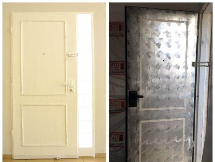 בית לבד 24, דלת הכניסה במהלך ואחרי השדרוג (צילום: מיכל יניב)