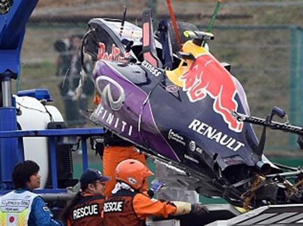 המכונית המרוסקת של קביאט (AFP) (צילום: ספורט 5)