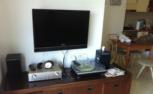 הדירה של מיקי וזיו, שידת טלויזיה לפני (צילום: צילום ביתי)