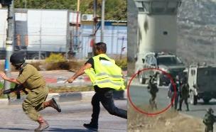 דקירת חייל באיזור חברון קריית ארבע שבירת מצלמה (צילום: חדשות 2)