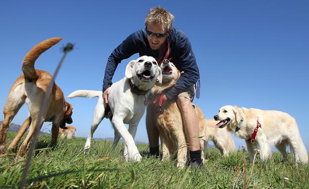 מלווה כלבים מקצועי בסן פרנסיסקו (צילום: Justin Sullivan, GettyImages IL)