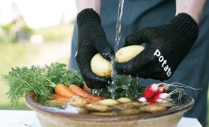 כפפות דיש וויש לשטיפת תפוחי אדמה (צילום: דיש וויש,  יחסי ציבור )