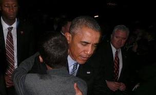 הנער במפגש עם אובמה, אמש (צילום: מתוך הטוויטר של אחמד מוחמד)