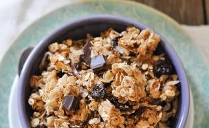 גרנולה עם שוקולד, קוקוס ודובדבנים (צילום: lemon-sugar)