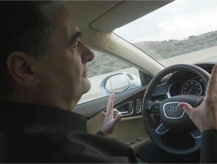השר ישראל כץ נוהג ברכב אוטונומי (יח``צ: שמואל נהון)