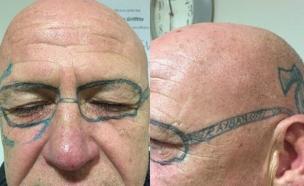 קעקוע משקפיים (צילום: Wales News Service)