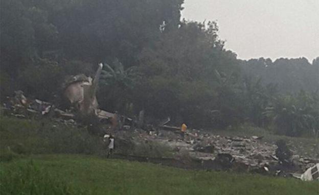 מטוס מטען שהתרסק בדרום סודן (צילום: חדשות 2)