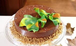 עיצוב עוגת וניל פשוטה בצבעי שלכת (צילום: אפיק גבאי)