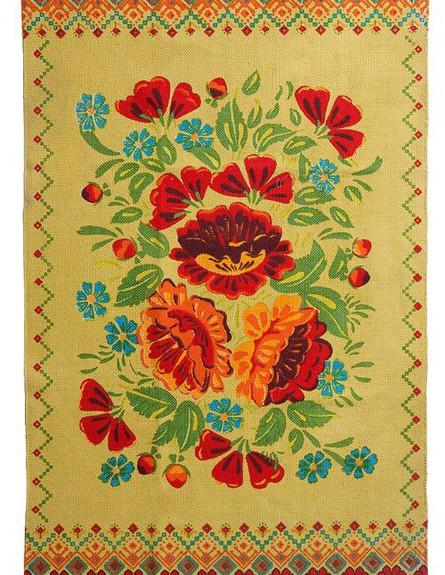עוצמת הרכות, ג, שטיח כותנה מודפס בטכניקה מסורתית של ג'ינג'ר (צילום: עדי גלעד)