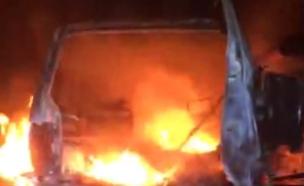 הסמים שנמצאו ברכב הבוער (צילום: דוברות המשטרה)