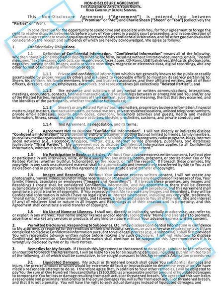 הסכם הסודיות של צ'ארלי שין