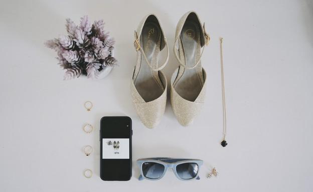 חתונות 11, צילום מלמעלה של אביזרי הכלה (צילום: שי פרנקו, הפקה - כלות אורבניות)