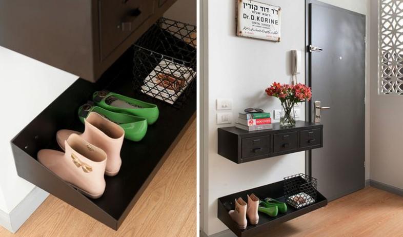 אחסון חורף, אחסון קטן בכניסה לבית ומדף לנעליים תואם בתכנון פנינית (צילום: גלית דויטש)