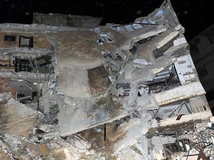 הבניין שהופצץ בדמשק (צילום: סוכנות הידיעות הסורית)