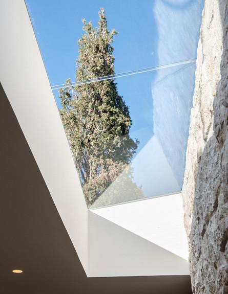 לצפות בשמים ובעצים מהפתח הגדול שמול גרם המדרגות (צילום: אילן נחום)