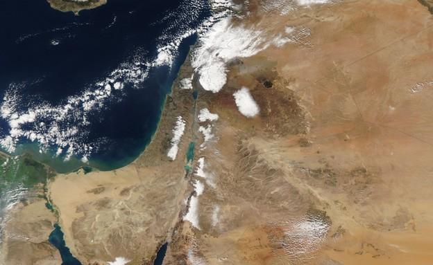 שלג בישראל - מבט מהחלל (צילום: NASA Goddard Space Flight Center)