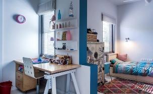 סטודיו 37, חדר המתבגרת שסרגה את הערסל, השטיח והפוף בחדרה (צילום: יואב גורין)