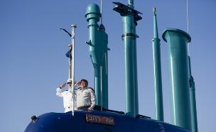 """מתוך טקס הגעת הצוללת אח""""י רהב (צילום: דובר צה""""ל, באדיבות גרעיני החיילים)"""