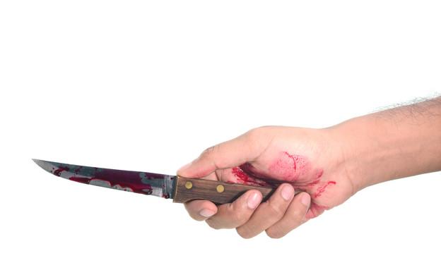 סכין עם דם (צילום: Shutterstock)