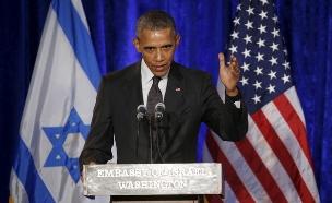 אובמה בטקס חסידי אומות עולם בשגרירות בוושינגטון (צילום: רויטרס)