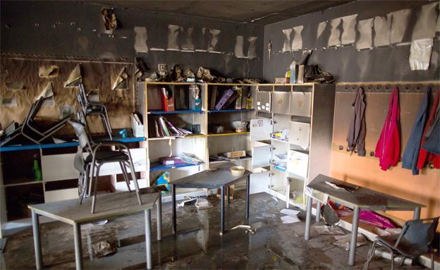 נזק כבד נגרם לבית הספר (צילום: פלאש 90)