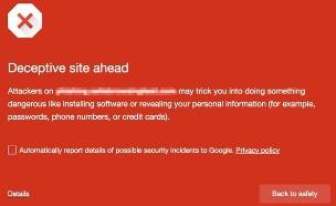 אזהרה של גוגל בכניסה לאתר עם פרסומות מוסוות (צילום: גוגל)