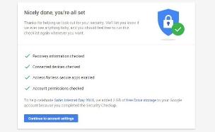 שאלון Security Checkup של גוגל