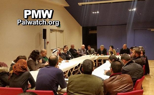 """פגישת חברי בל""""ד עם משפחות המחבלים (צילום: palwatch.org)"""