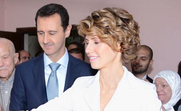 באשר אסד ואשתו אסמה  (צילום: רויטרס)