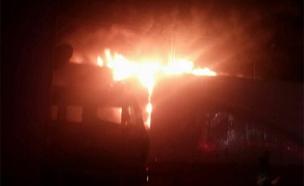 שריפה במשחטה (צילום: חדשות 2)