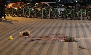 עקבות דם בטיילת ביפו, אתמול (צילום: איתן אלחדז -TPS)