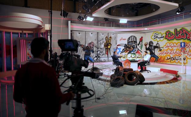 אולפני ערוץ אל-אקצה בעזה (צילום: רויטרס)