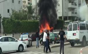 פיצוץ רכב, צפון תל אביב (צילום: חדשות 2)