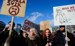 מחאה באיסלנד (צילום: רויטרס)