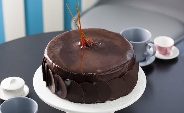 עוגת שוקולד - מוס, בראוניז וקרם ברולה (צילום: אפיק גבאי, בייק אוף ישראל)