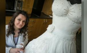 שמלת הכלה שהיא בעצם עוגה (צילום: מתוך חי בלילה, שידורי קשת)
