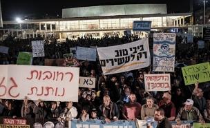 """""""אווירה פוליטית"""". מחאת מתווה הגז (צילום: Tomer Neuberg/Flash90)"""