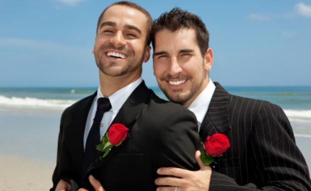 זוג חתנים גייז ביום חתונתם (צילום: martin purmensky, Istock)