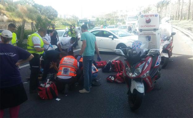 זירת התאונה בחיפה (צילום: דוברות איחוד הצלה)