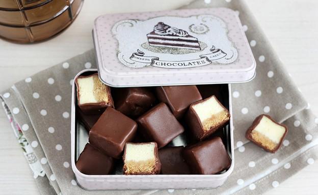 קוביות עוגת גבינה בציפוי שוקולד (צילום: ענבל לביא, אוכל טוב)